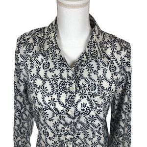 J CREW Long Sleeve Popover Navy Pattern Top Size S